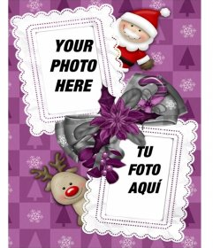 Frame for two photos, which we see Santa Claus and his reindeer Rudolf favorite