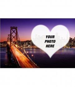 Postcard of San Francisco at sunset