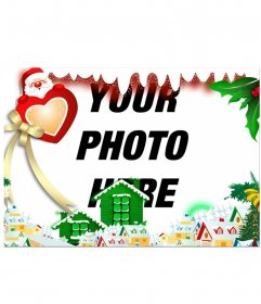 Christmas card to put your background photo with Santa Claus with heart and snowy village.