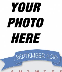 Effect to upload your photo in a calendar of September 2016