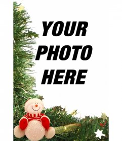 Christmas card with snowman ornaments and to put your photo