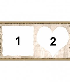 Frame for two pictures with heart-shaped and square edges of paper. Add two images and you can send or save the custom layout.
