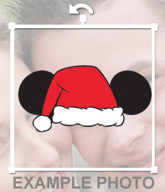 Sticker of ears of Mickey with Santa hat for your photos