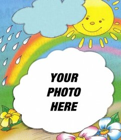 Photo frame with the sun on the background emerging from a cloud and the rainbow, where you can put your photo.