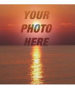Photo collage of a sunset, in shades of red, with a cut face or a photograph. This appears in transparency, focusing on the image