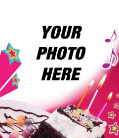 Birthday Card Where You Upload A Picture With Pink Background Cake Candles Stars And Music