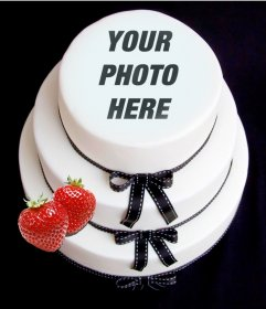 Photomontage to put your face on a fondant cake with strawberry.