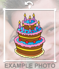 Colorful birthday cake with candles to decorate and paste on your image