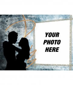 Love postcard of two lovers who can edit with a photo. Personalized Valentine card.