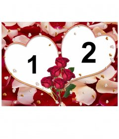 Two love hearts, frame for two photos. With this montage you can