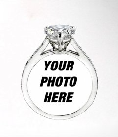 Put a picture of your girl or boy in a Cartier diamond ring, romantic photomontage