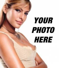 """Template for your photo collage with popular characters and celebrities. Upload your photo and stand next to Eva Mendes, model and actress. It""""s easy!"""