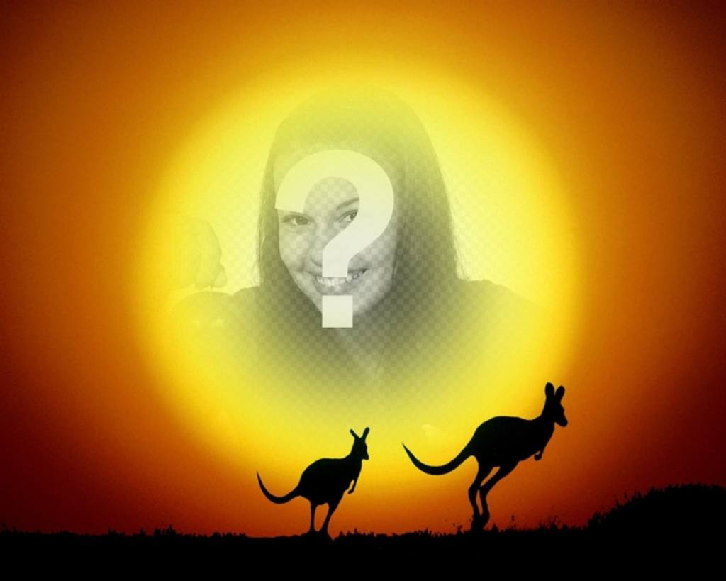 Put your picture in the background of the sun in a landscape with kangaroos jumping in the sunset. Easily create the composition from the editor of this page, you can save the result or email it
