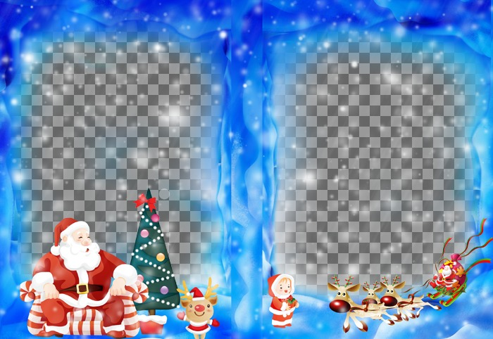 Put two of your photos on a Christmas frame with Santa Claus