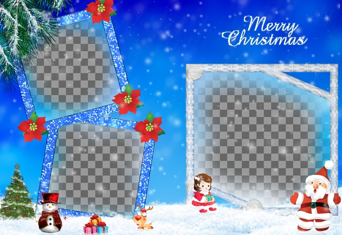 Christmas card in which we include three photographs. It refers to the gifts from Santa Claus and shows the Christmas tree, a snowman and blue frames with glitter effect adorned with red plants