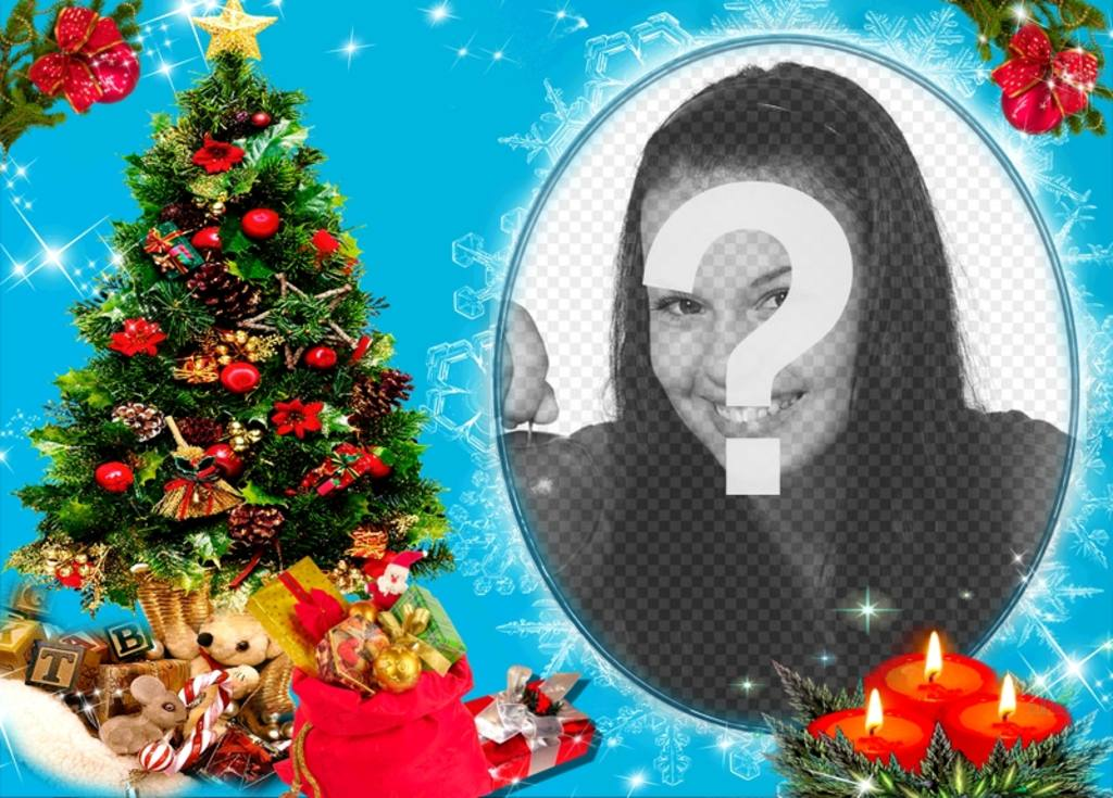 Your photo in a circular frame, next to a Christmas tree full of gifts, and behind three candles drawn. Blue background with glitter effects