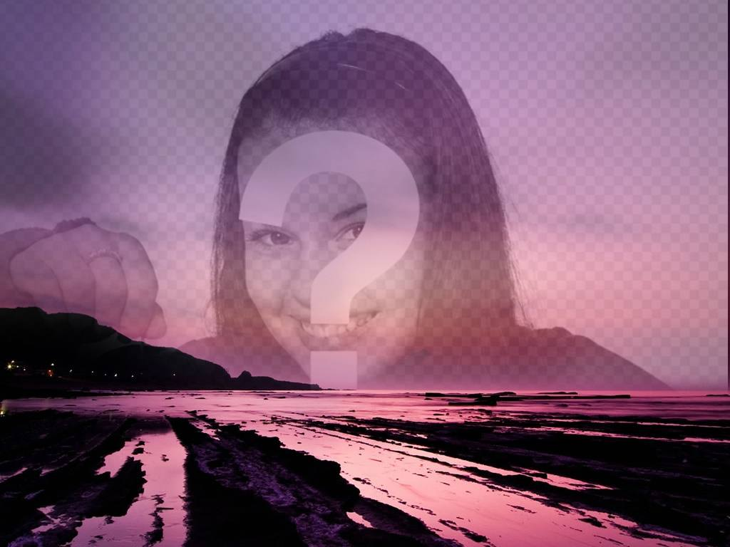 Photo collage to put a picture on transparency on a beautiful sunset in purple tones