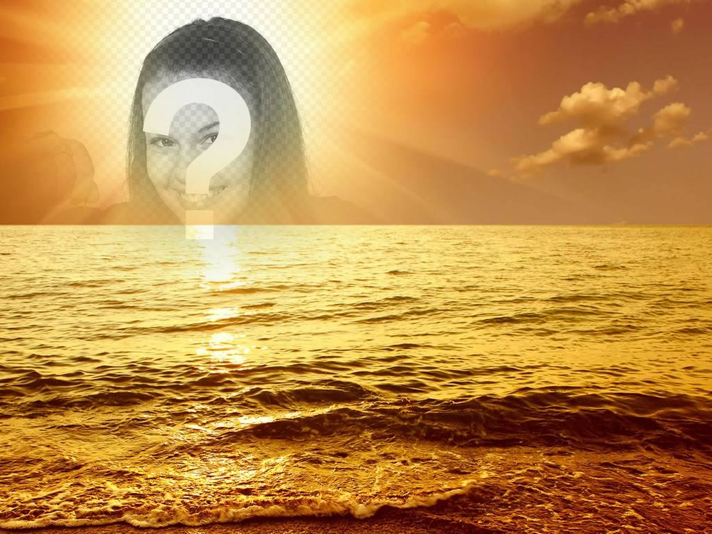 Photomontage with a sunset marina, where a cut face or image appears in the center of the sun, bathing in a golden glow a slight sea swell