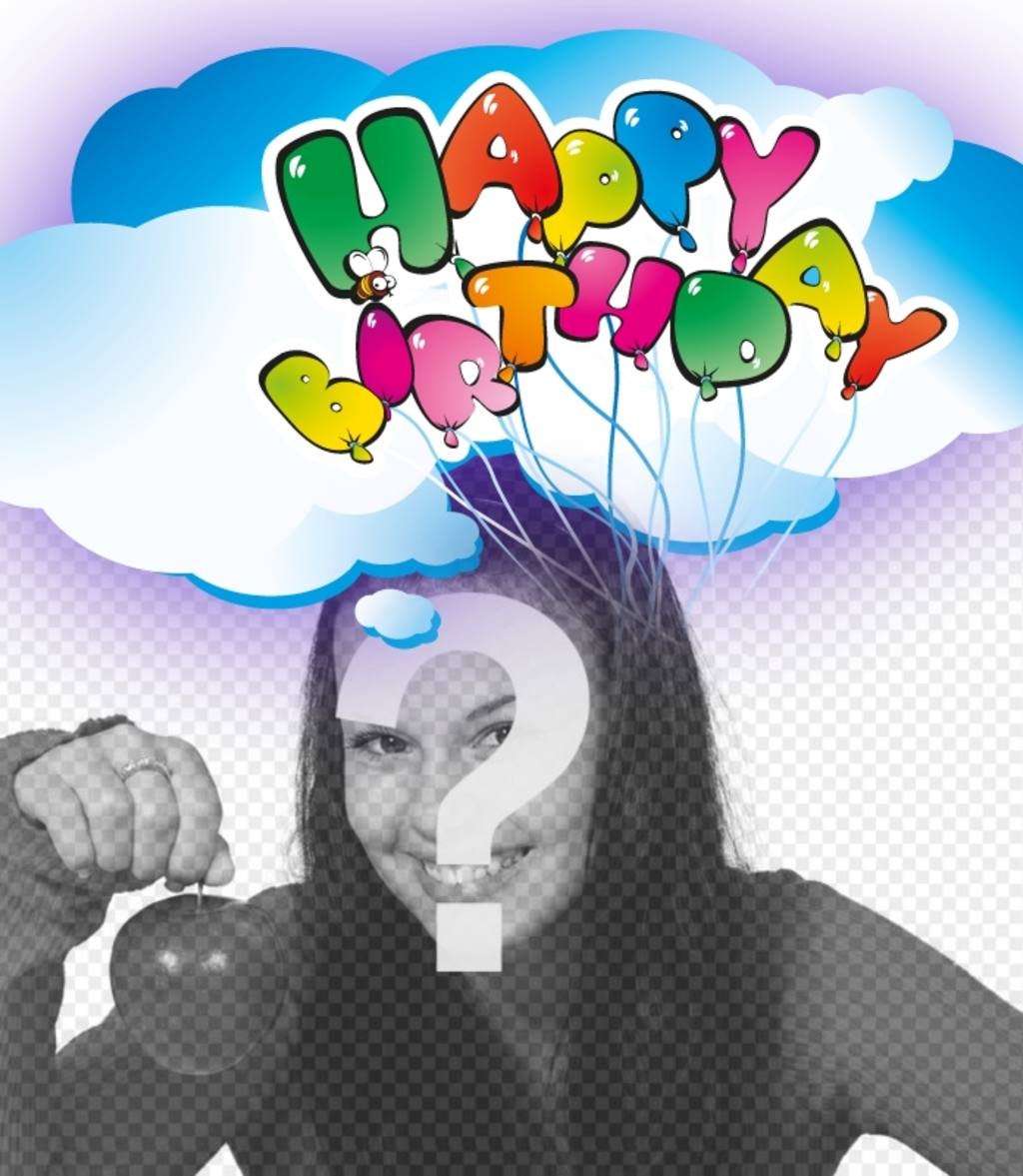 Postcard Happy birthday greeting with balloons