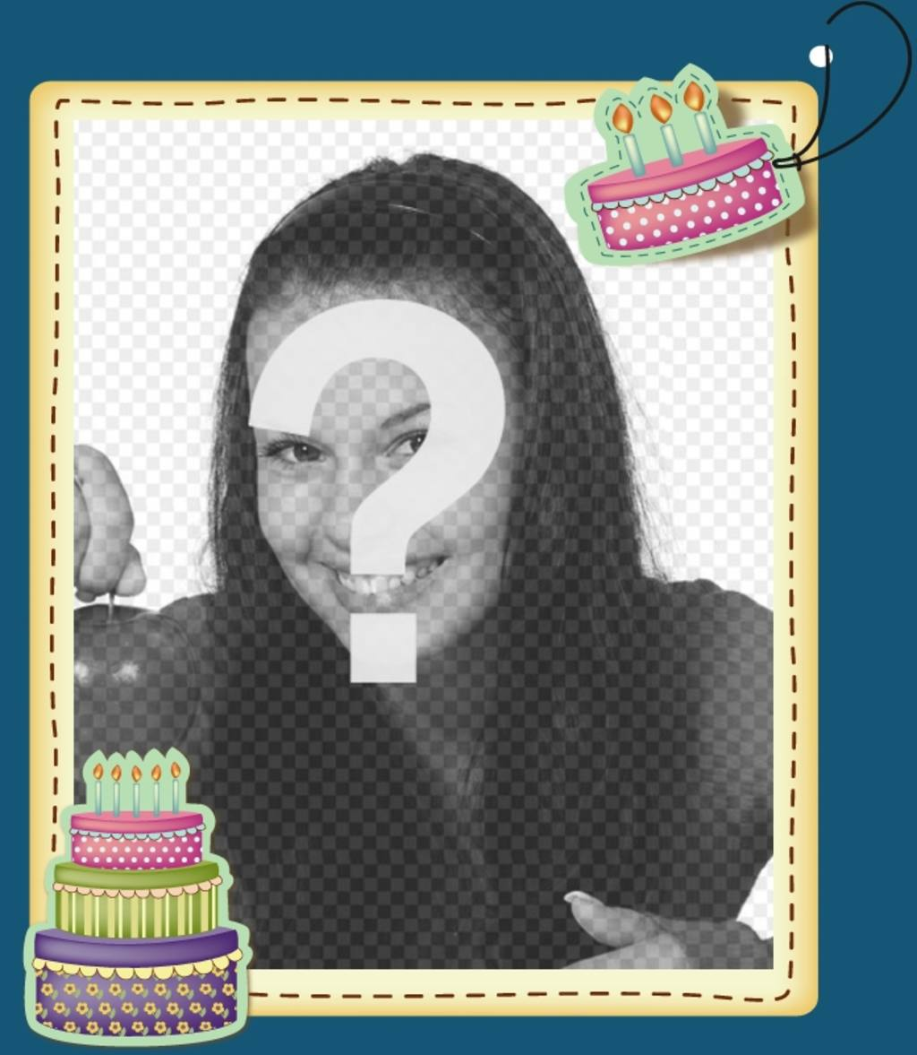 Edit a birthday card by adding a digital picture frame to this blue background and reasons anniversary cakes. Print your card or send them via email, in a simple and free