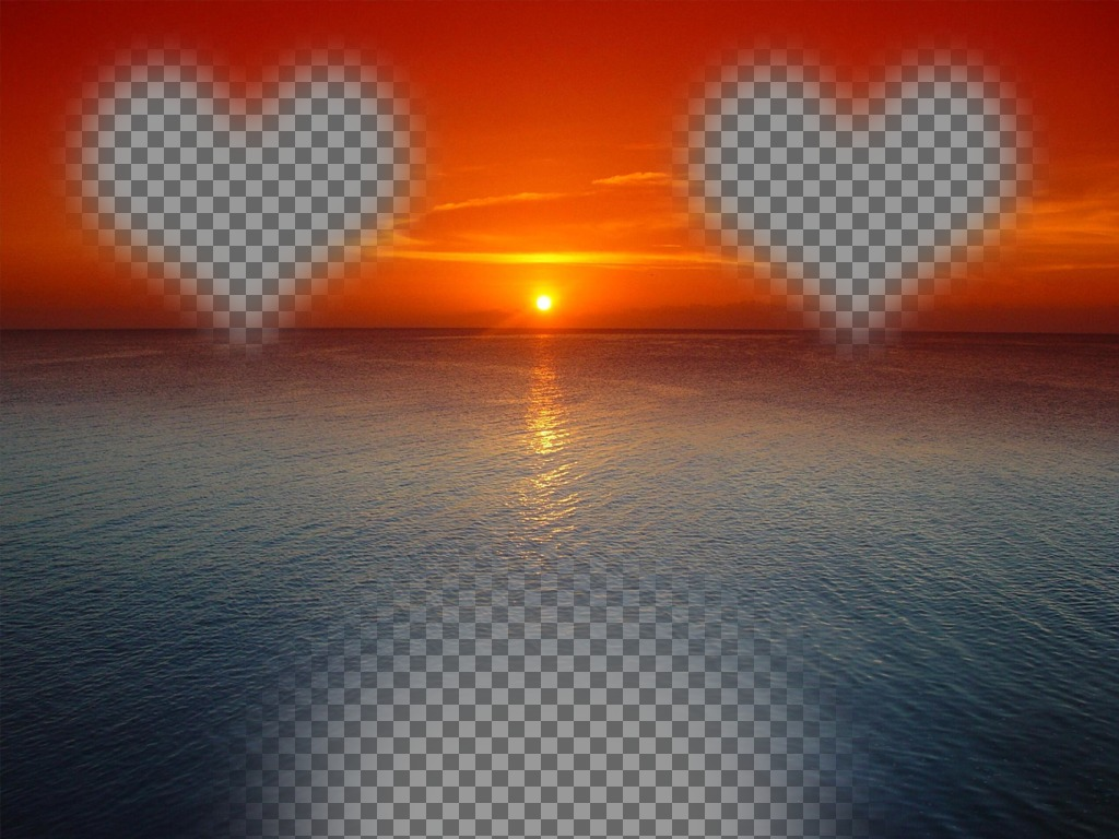 Online card for a sunset orange sky above a blue sea