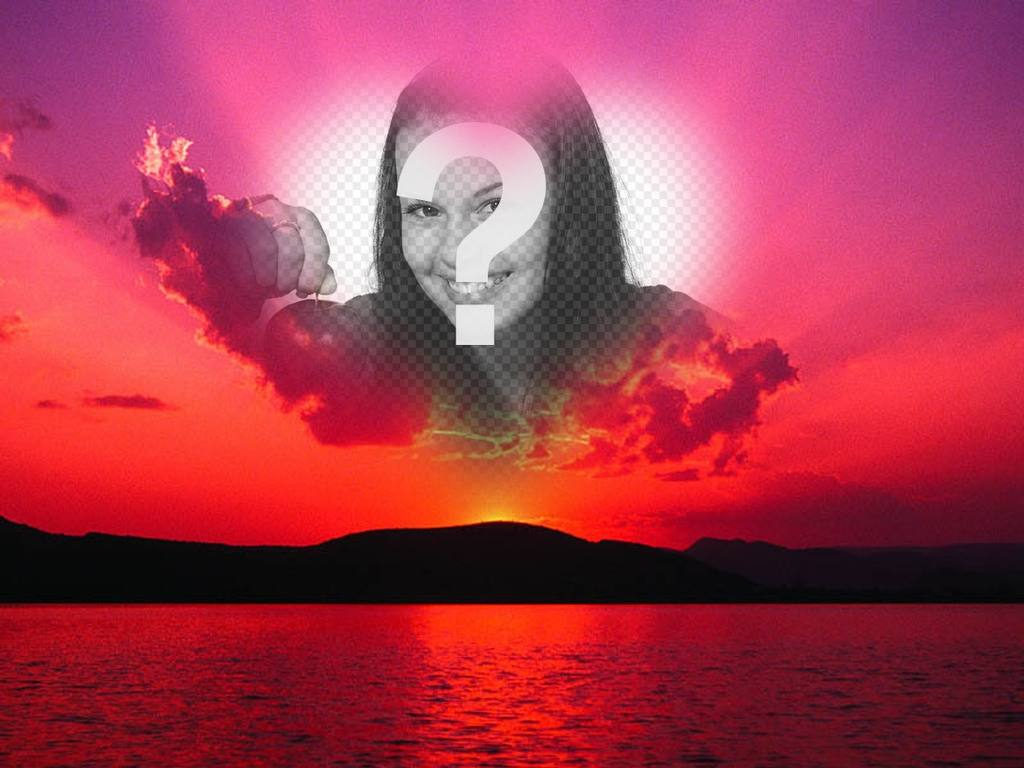 Photomontage of a sunset with a pink sky and a heart shaped frame where we can put a photo