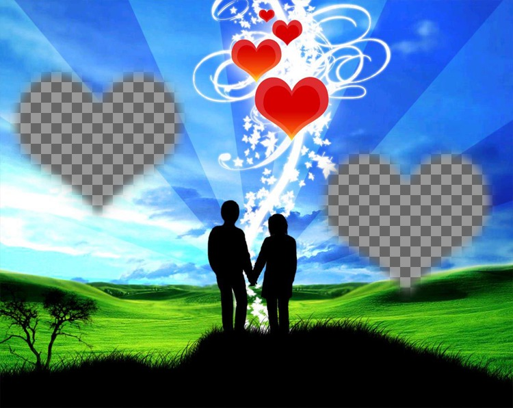 Marco online with two hearts and background of a couple