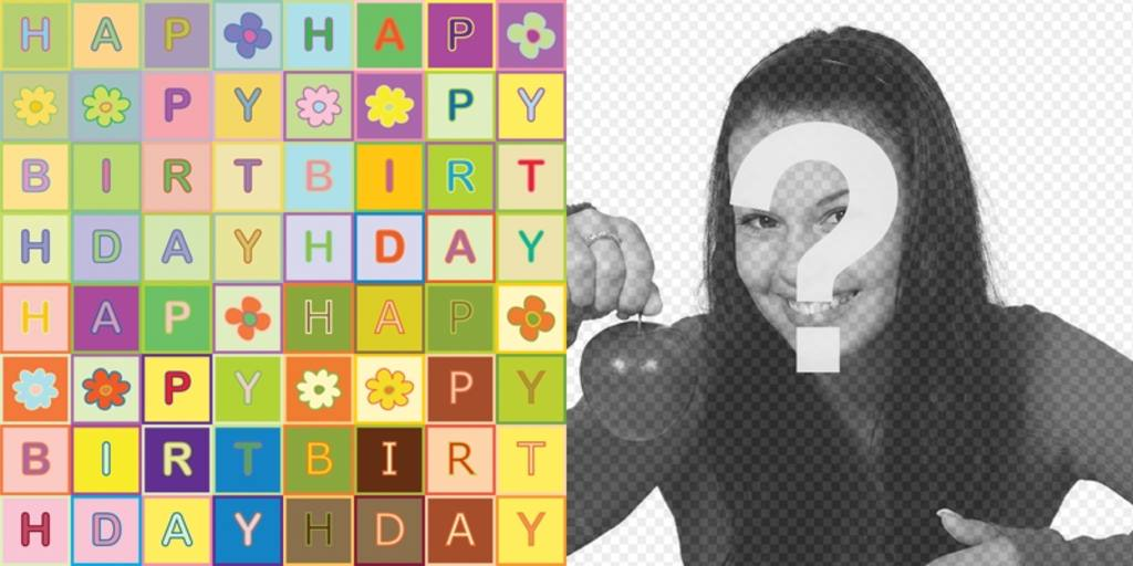 Birthday Card Happy Birthday to the text like a puzzle. in color