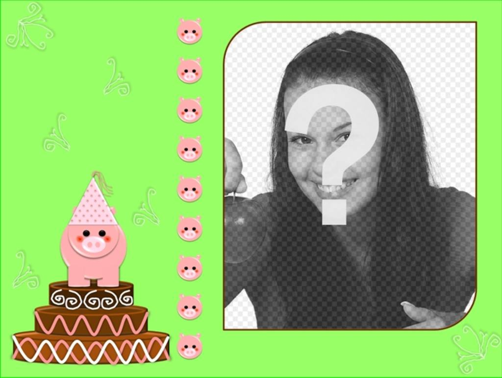 Birthday card with green background and a cake and a pig motif