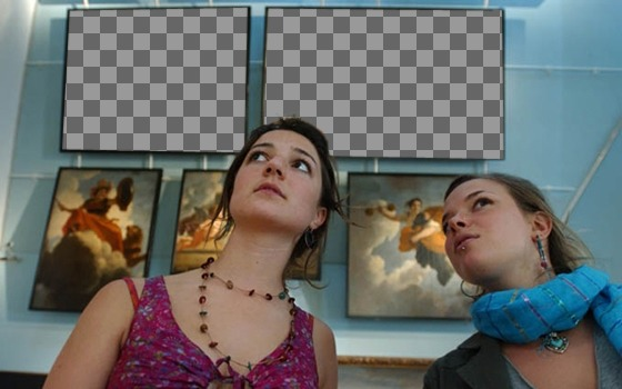 Photomontage to put two pictures in a museum with two girls