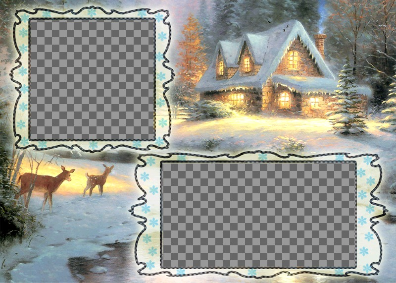 Christmas card charging where you can put two pictures, snowy village background and a deer