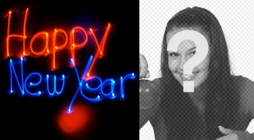Congratulates the new year with an animation with neon letters with your background photo