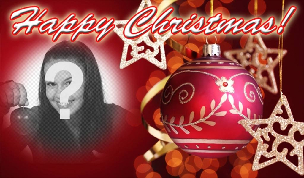 Post to congratulate Christmas with HAPPY CHRISTMAS text and red background with a Christmas ball. Put your photo at background