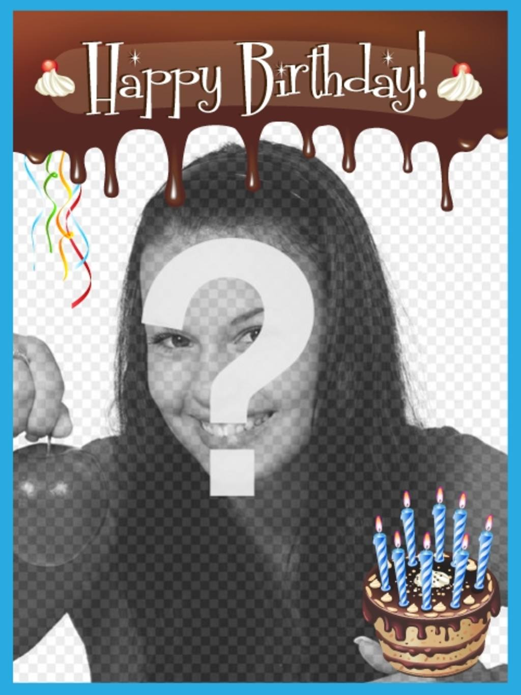 Happy birthday card with melted chocolate edge