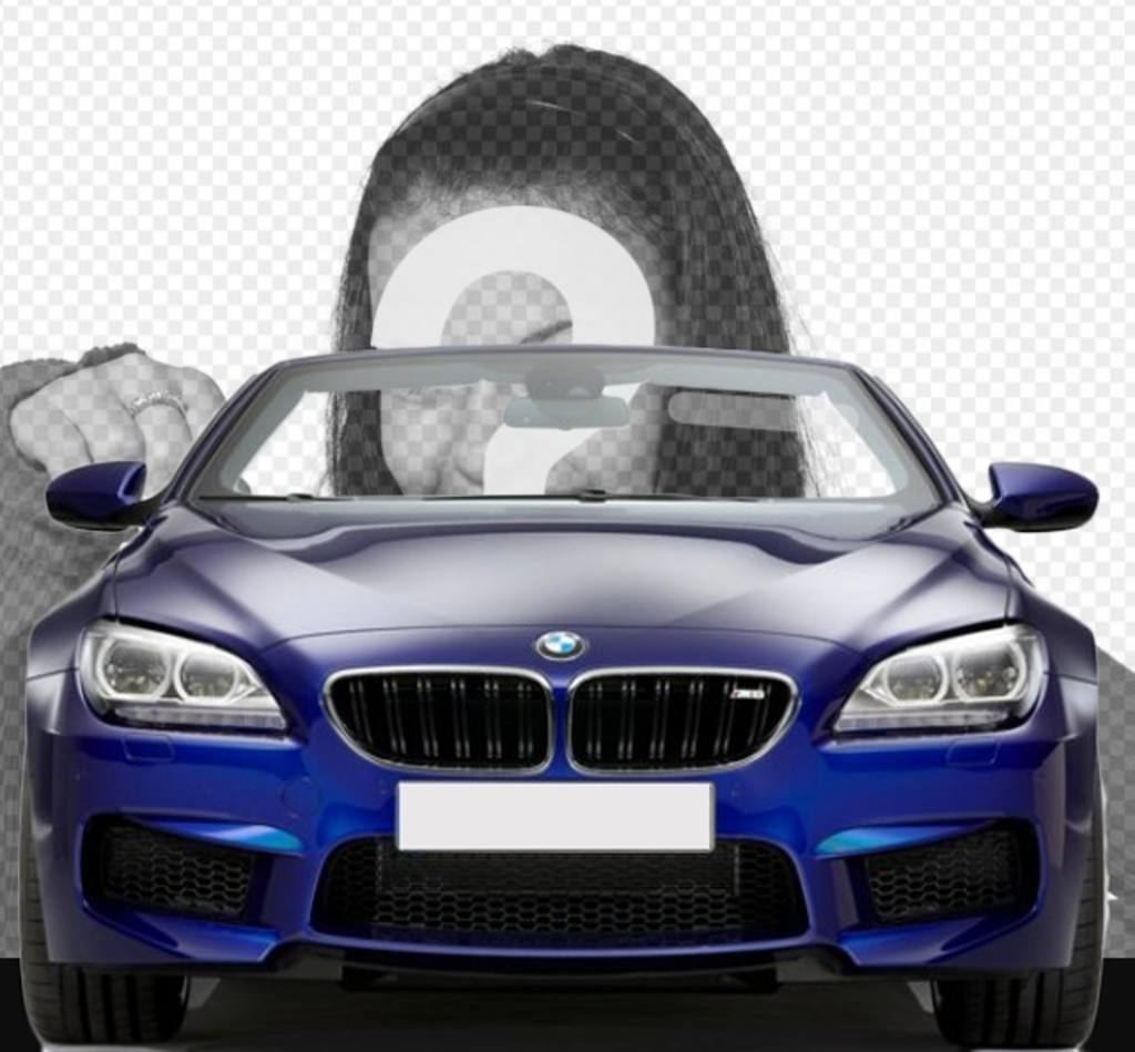 Drive a blue convertible BMW with this photomontage in which you can put your photo to look like you are driving a car