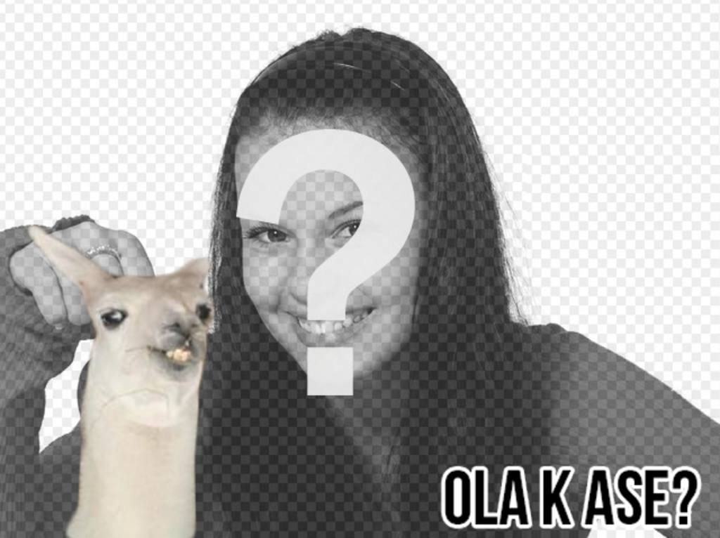 "Create a photomontage easy with flame meme ""Ola k ase?"" and add text for free online"
