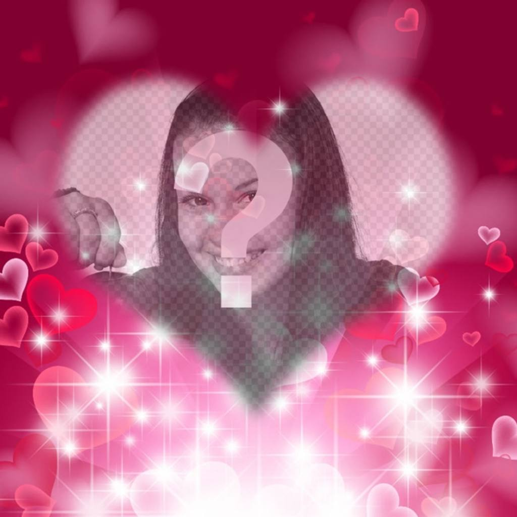 Love photoframe with heart-shaped bright fuchsia background with sparkles and hearts to put your photo in the center and a text
