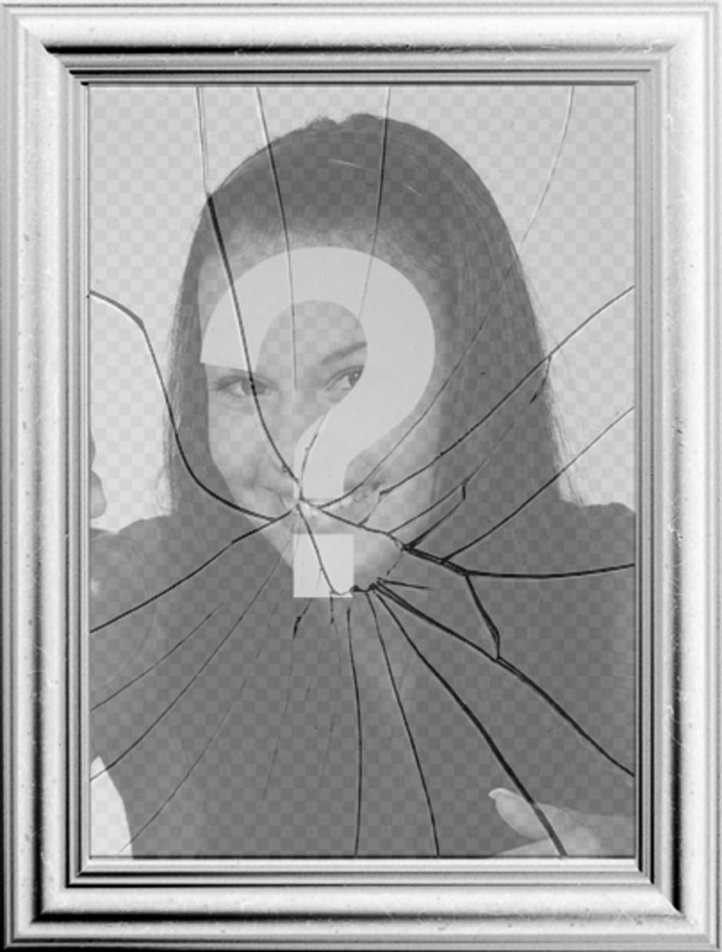 Digital picture frame, your image will be reflected in a broken mirror
