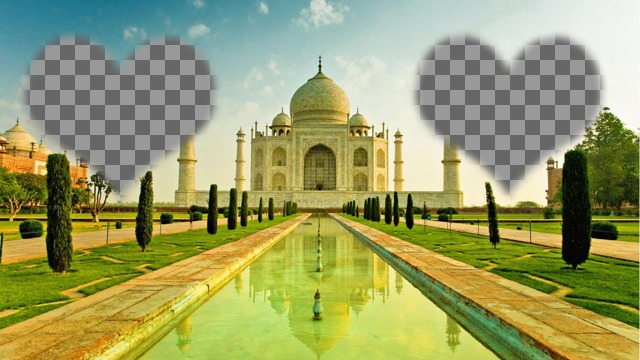 Photomontage in India with the Taj Mahal and two frames illuminated shaped heart in the sky where to place your photo