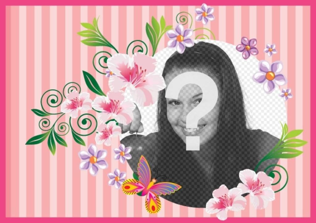 Postcard to the day of the mother with pink background with flowers and butterflies for customize with photo and text to congratulate her