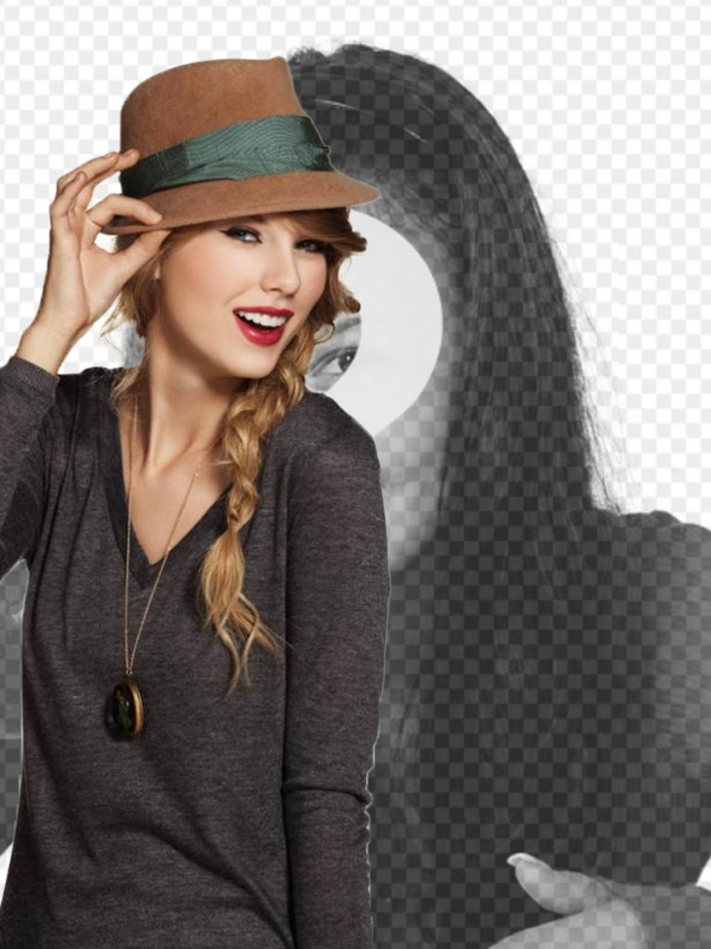 Photomontage with Taylor Swift in which you will appear with the singer wearing a hat and red lips