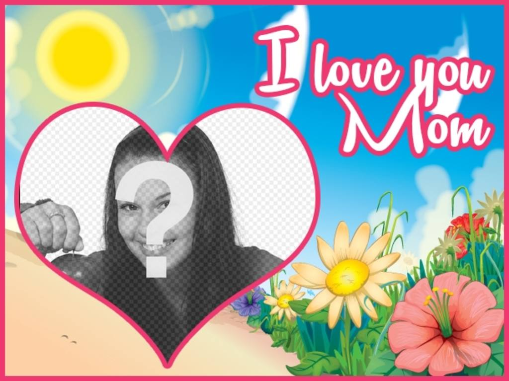 """Mother""""s Day postcard customizable with a photo and a text with the phrase """"I love you mom"""" on a colorful landscape cartoon"""
