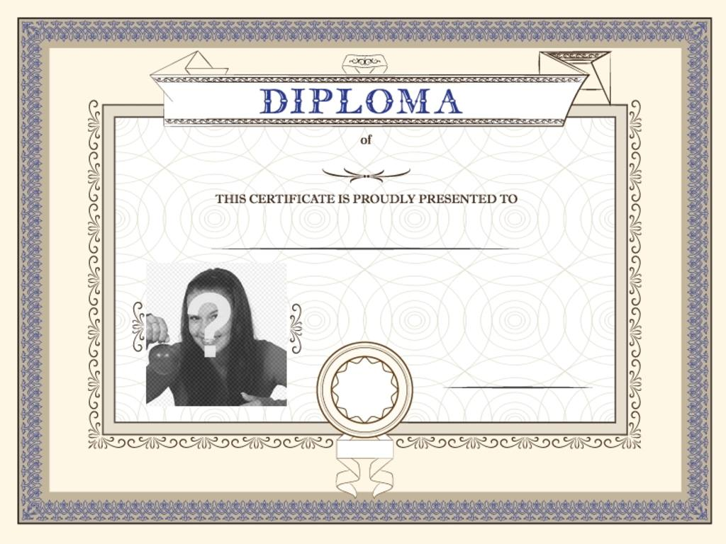 Customizable diploma of an achievement, proudly presented to the person you want in which you can place a photo and text