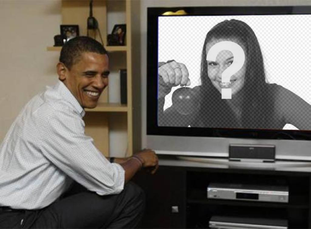Photomontage to put Barack Obama with your photo  where the president appears on a television beside her