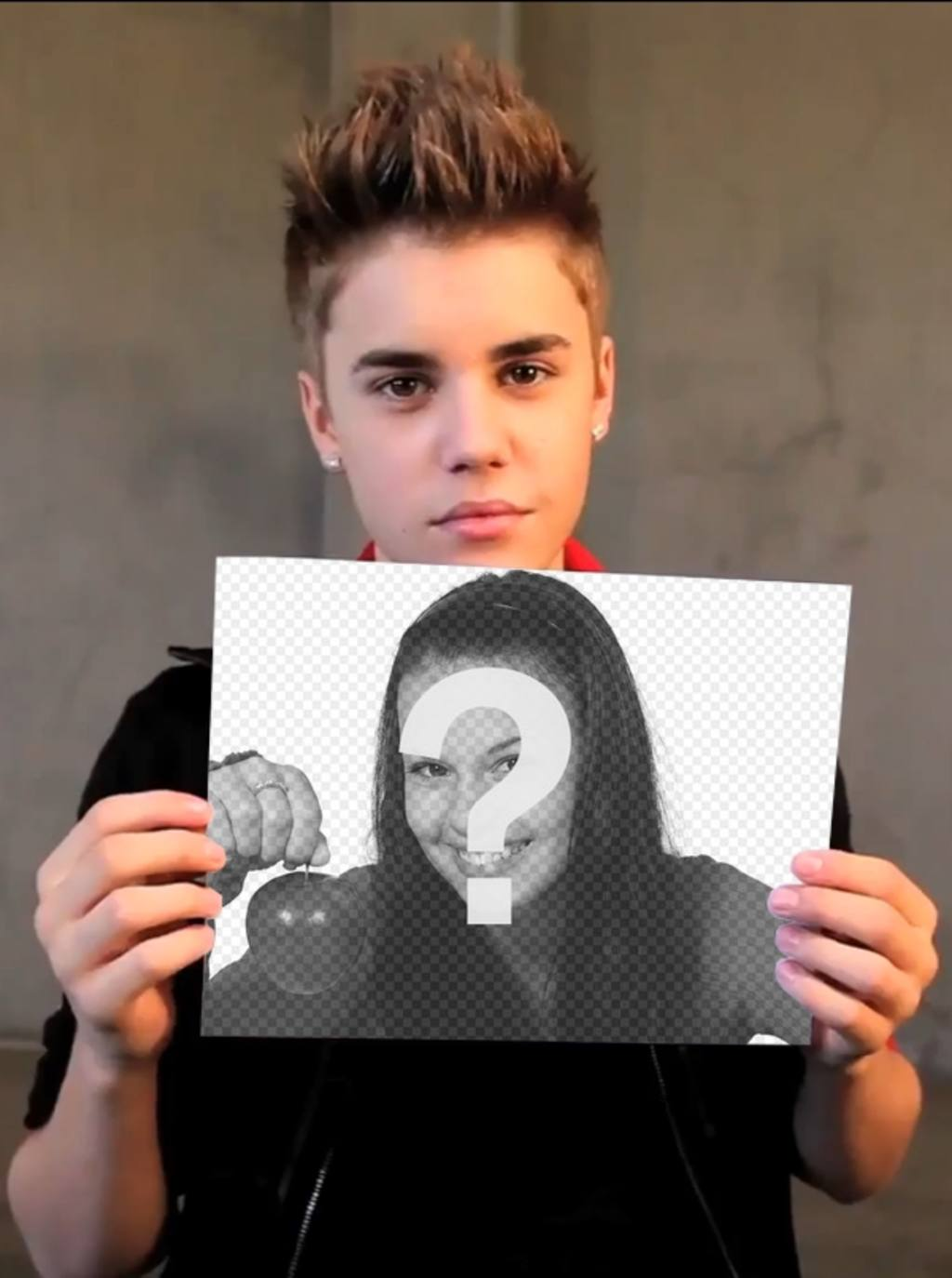 Photomontage With Justin Bieber With Short Hair Holding Up Your Pictur