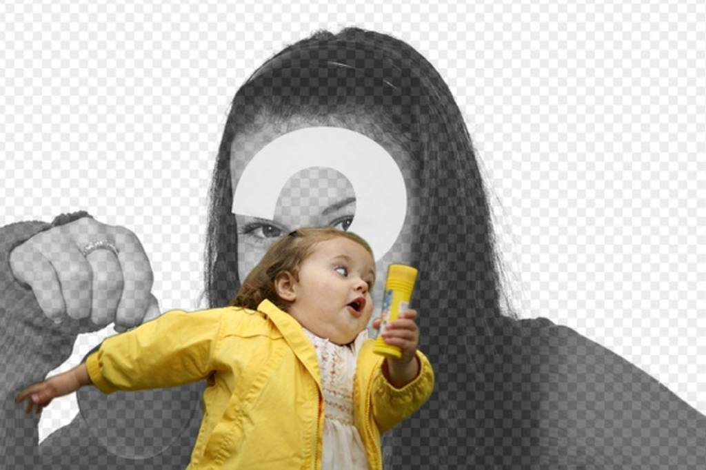 Photomontage with the bubble girl in the yellow raincoat and the fashionable meme where you place your photo and text
