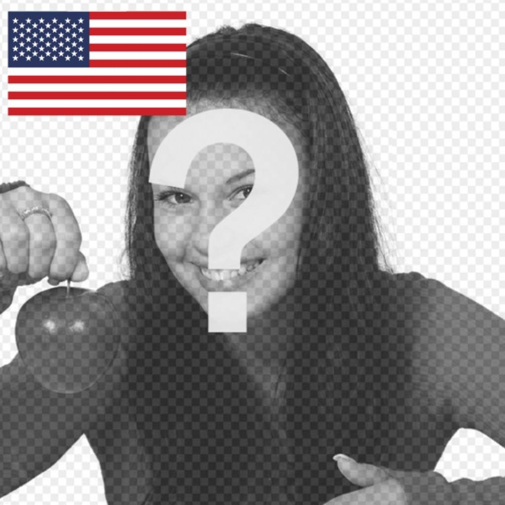 Photomontage with the flag of the United States to personalize your Twitter profile picture or other social networks