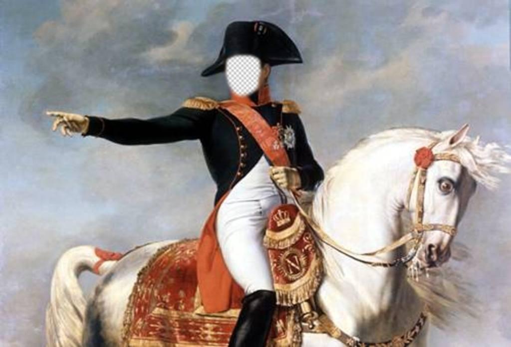 Photomontage with Napoleon Bonaparte on his horse