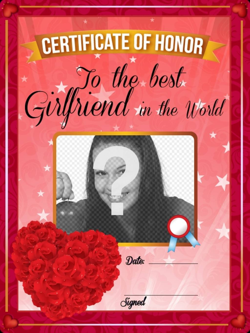 Certificate to the best girlfriend in the world with red ...