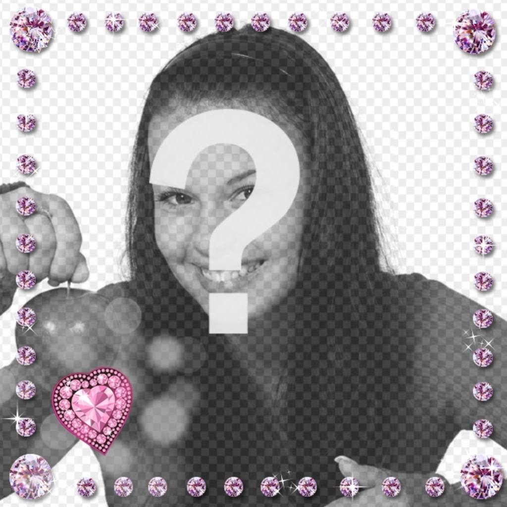 Photo frame with pink rounded shining diamonds and heart shaped with flashes of light